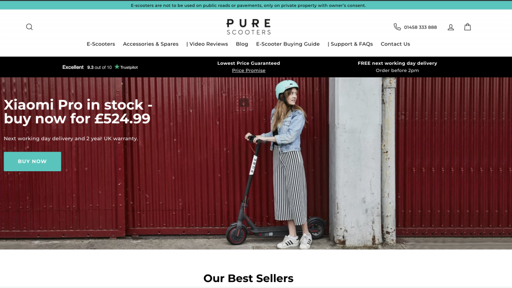 pure scooters home page